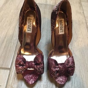 Badgley Mischka Shoes - Badgley Mischka Metallic Heels with Bow Detail
